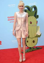 anna faris shows slender frame pink playsuit cloudy