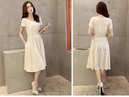 linen dresses casual short sleeve 2015 summer tunic knee length