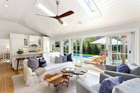 ceiling fan crown molding great room ceiling fans cottage great room with skylight hardwood
