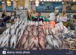 interior of fish market at souq sharq in kuwait city kuwait stock