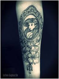 collection of 25 little mermaid mirror and flowers tattoo design