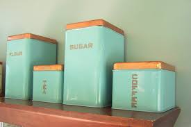 kitchen flour canisters mid century lincoln beautyware canister set copper teal atomic