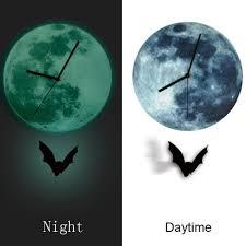 newest creative 3d cool halloween night lunar decorative clock