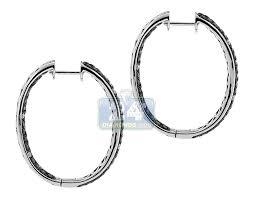 black diamond hoop earrings 14k white gold 5 20 ct black diamond hoop earrings 1 1 4 inches