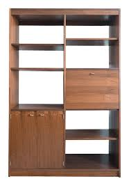 mid century modern walnut room divider shelf unit chairish