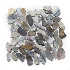 sliced flat pebble tiles stratastones