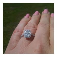 radiant cut halo engagement rings found on weddingbee your inspiration today decor