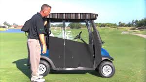 Golf Curtains Easy Roll Retractable Golf Cart Enclosure Youtube