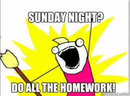 Homework Meme - college memes sunday homework greenville university papyrus