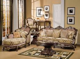 European Living Room Furniture Charming Brown Wooden Carving Luxury Sofa Lounge And Pedestal
