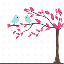 couples of birds on autumn tree vector clipart image 21430