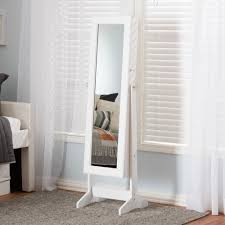 Free Standing Jewelry Armoire With Mirror Baxton Studio Alena White Finishing Wood Free Standing Cheval