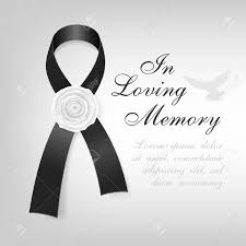 black and white ribbon funeral card black awareness ribbon with white flower on