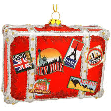 suitcase with stickers glass ornament hobbies