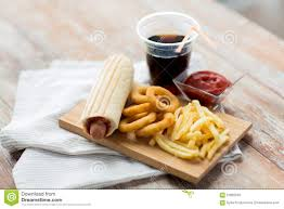 drink table close up of fast food snacks and drink on table stock photo