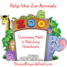 help the zoo animals elementary math and matching worksheets