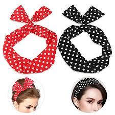 hair holders pixnor wire headband retro bowknot polka dot wire