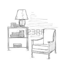hand drawn sketch of modern workspace with work table lamp and
