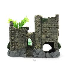 aquarium decoration ruins ancient castle fish tank decor resin