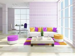 blue and brown living room interior design with brilliant yellow