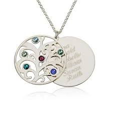 birthstone mothers necklace personalized family necklace birthstones pendant 925