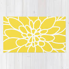 Modern Yellow Rug Modern Dahlia Flower Rug Area Rug Yellow And White Flower