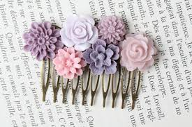 Shabby Chic Wedding Accessories by Purple Flower Hair Comb Purple Wedding Hair Accessories Bridal