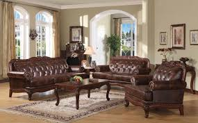 Real Leather Sofa Sets by Brown Button Tufted Leather Sofa Set Carved Wood Nailheads