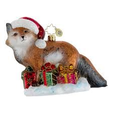 radko ornaments animal ornament festive fox