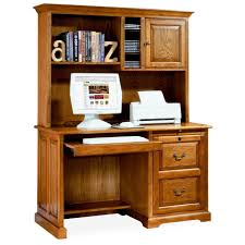 Wood Computer Desk With Hutch by Varnished Brown Wooden Computer Desk With Double Hutch Plus