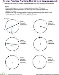 practice naming a circle u0027s components 3 worksheet education com