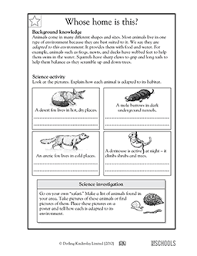 5th grade science worksheets how animals adapt to habitat