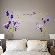 purple wall stickers custom wall stickers purple lily flower wall stickers