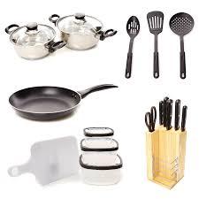 necessaire de cuisine home and styling nécessaire de cuisine 17 pièces argenté