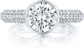 bezel set engagement ring tacori bezel set pave diamond engagement ring 307 35rd