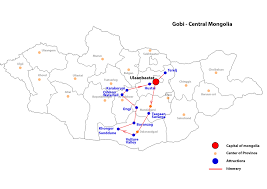 Mongolia On World Map Gobi Central Mongolian Tour Packages