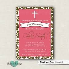 Invitation Card For Holy Communion Pink Communion Invitation Printable Communion