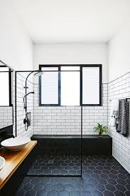 How To Clean Black Tiles Bathroom Black Tile Floor White Subway Walls Bathroom Black Bathrooms