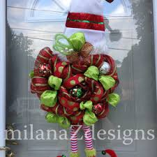 and green deco mesh wreath chrismas from milanazdesigns on