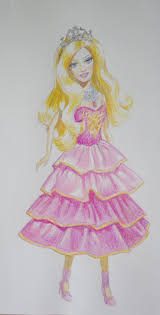 draw barbie doll pink dress