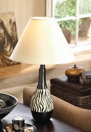 zebra stripe table lamp black white jug shape fabric shade africa