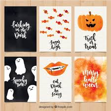 classic pack of watercolor halloween cards vector free download