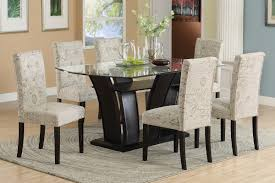 suede dining room chairs poundex f2153 f1093 dining table and micro suede print chairs 7 pc set