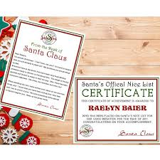 personalized letter from santa personalized printable letter from santa and list certificate