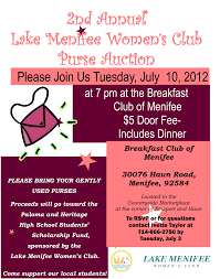 lake menifee women u0027s club purse auction menifee 24 7