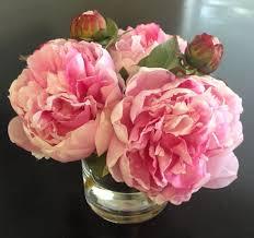 faux peonies silk floral arrangement faux pink peonies x3 in vase