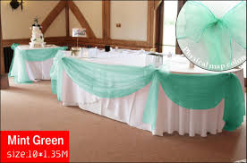 mint wedding decorations 10 m x 1 35 m mint green top table swags sheer organza fabric