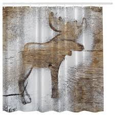 Rustic Shower Curtains Rustic Winter Moose Fabric Shower Curtain