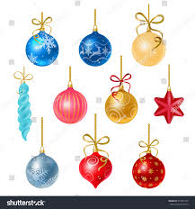 christmas tree decorations isolated on white stock vector