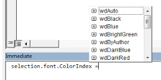 vba word difference between font textcolor and font colorindex